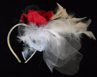 Wedding Headband with Feathers, Red Rose HeadBand, Red Rose Wedding Fascinator, Burlesque Headband with Feathers, Wedding Hair Piece
