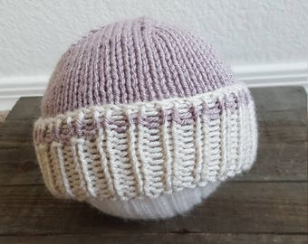 Newborn Knit Hat, Folded Brim Beanie, Baby Shower Gift, Photography Prop