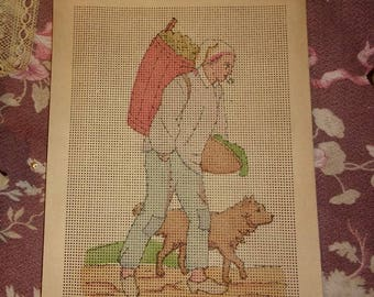 Old cardboard perforated, rare, embroidery, 19 eme, 1900, collection, canvas, peasant