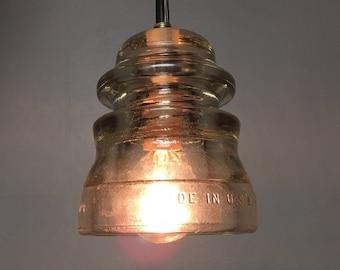 Pendant Light, Clear Glass Insulator, Hemingray, Plug-in, Antique