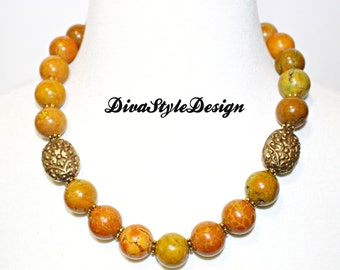 Bold Jasper Statement Necklace with Carved Lotus Flower Tibetan Focal Beads