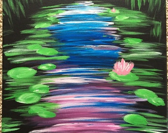 Lily pond acrylic painting