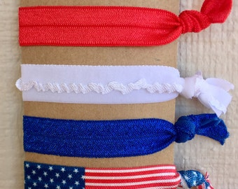 Red,white,& blue american no pull hair elastic