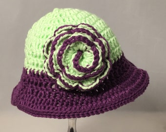 Crochet Baby Hat, Light green with purple accents and flower