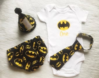 Free shipping,Batman,Superhero,Boy Cake Smash Outfit,Boy 1st Birthday outfit, boy cake smash, Bow Tie and Diaper Cover