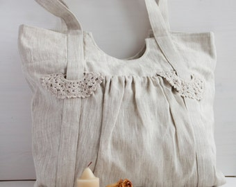 Neutral Linen Bag with  knited elements
