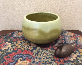 California Pottery Green Glazed Mid-Century Planter Pot