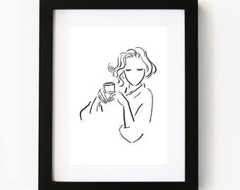 Coffee Love, Coffee Art, Illustration Art Print, Room decor, Gifts For Her, Wall Art, Poster