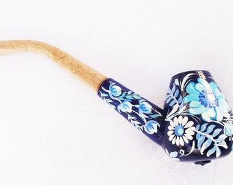 Wooden smoking pipe - Oriental tobacco smoking pipe - Boho smoking pipe  - Peace pipe carved wood - Hand-painted - Blue and white flowers