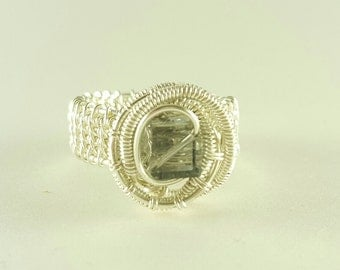 Silver wire woven light gray ring