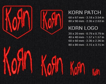 Korn patch and logo - Machine embroidery design - 4 size and 2 size of patch for instant download
