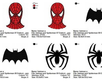5 Batman and Spiderman 03 Embroidery Designs
