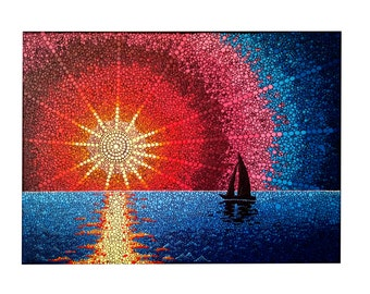 Original LANDSCAPE SEASCAPE Dot painting, hand made by Jakub Molacek, wall art decor for home.
