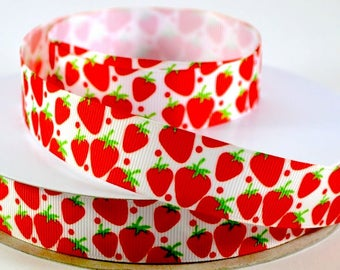 "Fresh Picked Strawberries, Berries - 7/8"" Printed Grosgrain Ribbon"