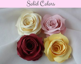 Paper Roses/ Large Paper Roses/ Solid color roses/ paper flowers/ roses/ floral crafting/ flowers/ cardstock flowers/ cardstock roses