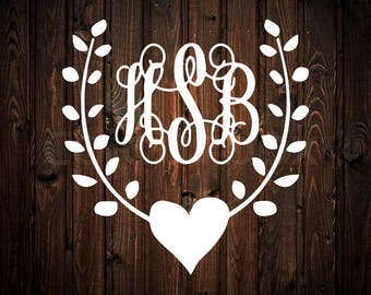 Vine and Heart Monogram Decal