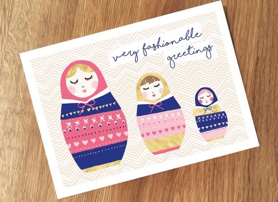 Fashionable Greeting Postcard, Matroschka Illustration, Sketch, Fashion, Lifestyle, Birthday Wishes