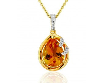 Citrine and Diamond Yellow Gold Pendant and Chain