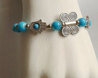 Mix silver charm bracelets / anklets Butterfly Hamsa Hand of fate Tibetan silver Blue beads Black beads friendship modern bohemian touch