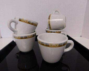 Mid-Century Modern China Shenango Diner Coffee Cups with a Retro Atomic Band in Gold and Black - Set of 5