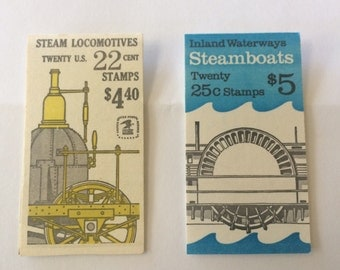 2 Vintage Postage Stamp Booklets, 1980's, Steamboats and Steam Locomotives