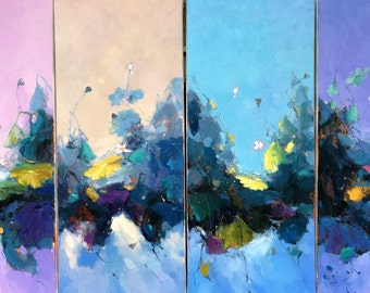 4 panels of waterlily oil painting 141