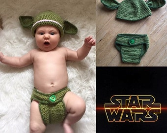Star Wars Baby Yoda Crochet Outfit, Photo Prop, Costume, Newborn, baby gift.