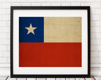 Chile Flag Art, Chile Flag Print, Flag Poster, Country Flags, Chile Poster, Chilean Art, Chilean Pride, Housewarming Gifts, Flag Painting,