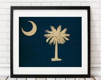 South Carolina Flag Art, South Carolina Flag Print, Flag Poster, SC State Flag, SC Painting, South Carolina Gifts, South Carolina Art