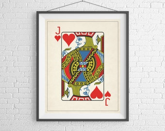 Jack of Hearts, Playing Card Art, Game Room Decor, Game Room Art, Poker Gifts, Gambling Gift, Office Wall Art, Man Cave Art, Bar Decor