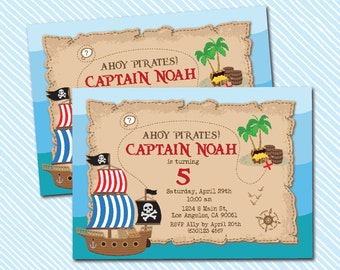 Digital Printable Pirate Birthday Invitation. Treasure hunt. Boy Birthday