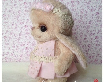 Teddy Bunny peach cream kid  stuffed soft plush handmade toy  artist teddy bear Made to order for you
