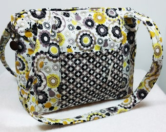 Quilted Purse, Quilted Bag, Quilted Tote Handbag, Cotton Fabric, Homemade Purses, Yellow Black Grey White, Purse, Heart Purse Pull