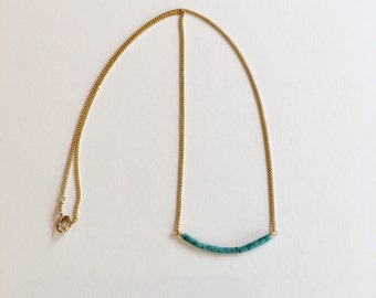 Tiny Bead Bar Necklace Blue Turquoise, Minimalist Necklace, Dainty Jewelry, Simple Jewelry, Layering Necklace