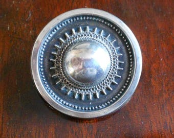 Vintage Victorian Silver Target Brooch, C Clasp and Patina, Round Brooch, Lovely Condition