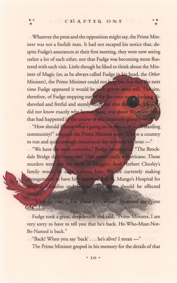 Baby Fawkes Art Print Harry Potter Book Page Art Print On