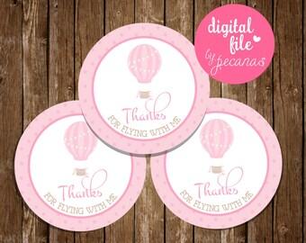 hot air balloon favor tags, pink air balloon tags, pink balloon thank you tags, aerostatic balloon, printable favor tags, hot air balloon
