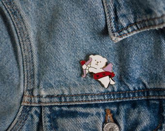 VINTAGE Angel Bear Enamel Pin