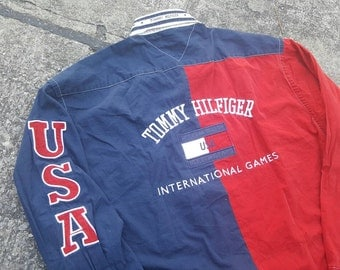 VTG Tommy Hilfiger USA Sailing Gear Colour Block Big Logo Spell Out DeadstocK Shirt Rare 90s