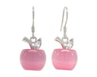 Pink apple drop dangle earrings, Real silver hook and pink moonstone, Apple pink earrings, Moonstone pink earrings, Apple earrings, Gift box
