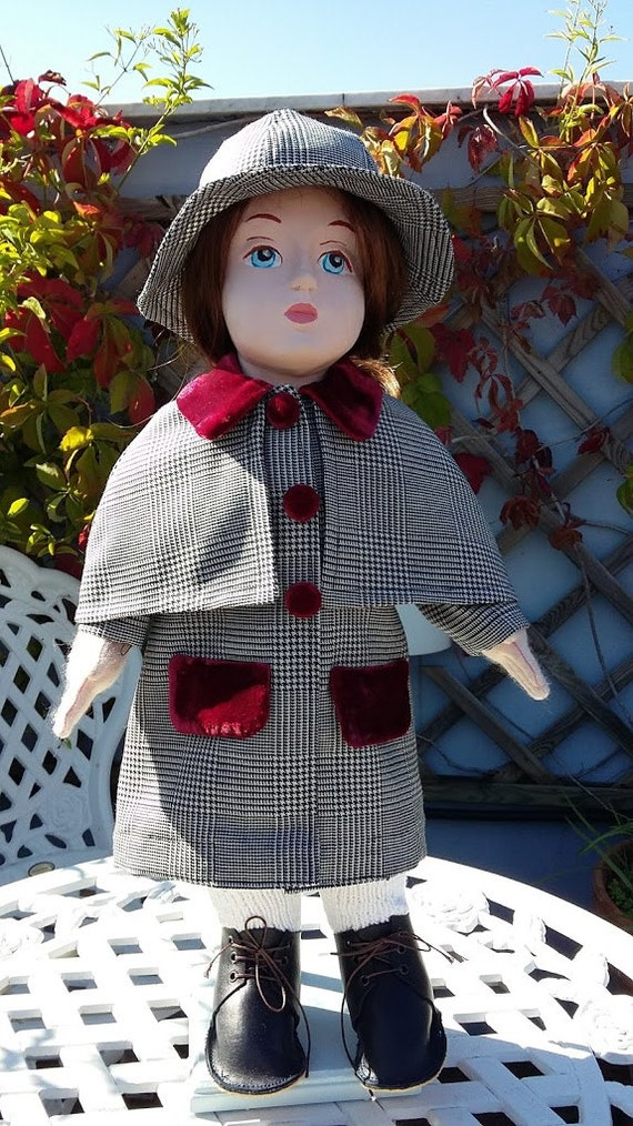 Coat with removable mantle and hat for 18 inch doll