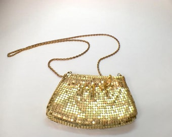Vintage Gold Mesh Evening Bag with Chain Handle, 1980's