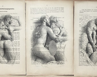 Erotic Gay poster 3 pages /  mens love / Printing Antique  German book  decor interior picture ART erotic