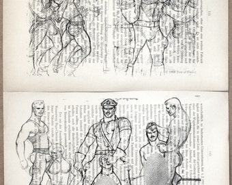 Erotic Gay poster / Tom from Finland /Print 2 page mens love/Antique German book