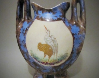 Vintage Pottery Urn Vase Stork Bird Pattern Hand painted Double handled Vase Blue Brown Gold