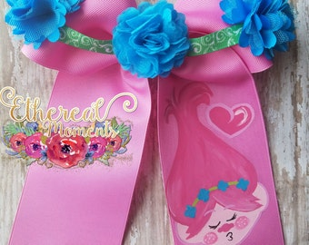 Poppy from Trolls Valentines hand painted hair bow. Painted cheer bow. Dress up, cosplay, hair accessory