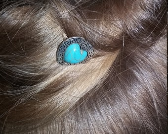 2 silver toned and turquoise heart hair pins