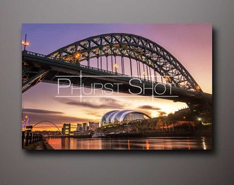 Tyne Bridge canvas print, Cityscape photogrpahy, newcastle quayside, long exposure photo, sunrise image, water reflection, golden hour shot
