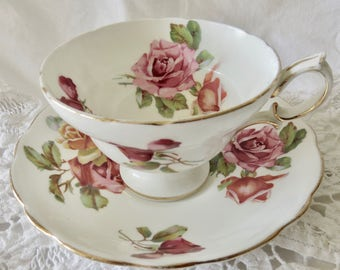 """Hammersley Bone China Footed Teacup and Saucer """"Morgan's Rose"""" Pattern (see description)"""