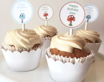 The Amazing World Of Gumball Cupcake Toppers | The Amazing World of Gumball Party Supplies | Gumball Party Decor | Gumball Birthday Party